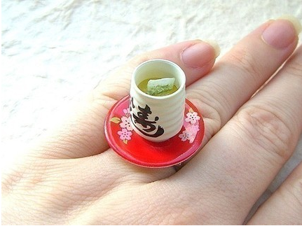 Kawaii cute Japanese ring - green tea