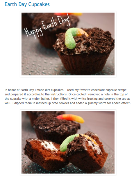 earth day cupcakes, featuring mud and worm