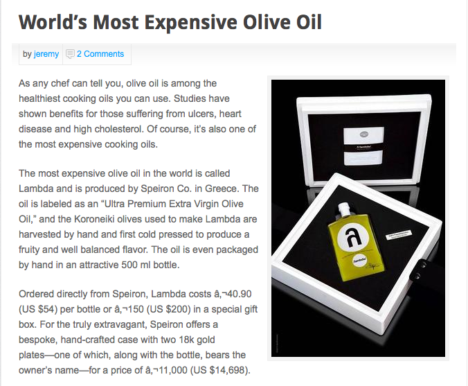 world's most expensive olive oil